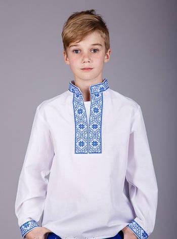 Вышиванка с синей вышивкой на мальчика , фото 2