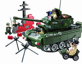 Конструктор BRICK 823 танк, блокпост, фигурки 5шт, 466 дет, в кор-ке, 37-28,5-5,5см