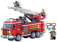 Конструктор Brick Enlighten серия Пожарная тревога 904 (Пожарная машина МЧС с выдвижной лестницей)