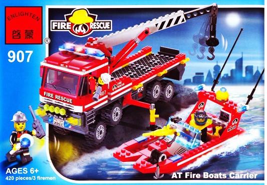 Конструктор Brick Enlighten серия Пожарная тревога 907 (Пожарно-спасательный катер МЧС и автомобиль с краном)