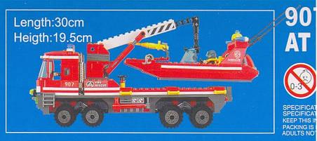 Конструктор Brick Enlighten серия Пожарная тревога 907 (Пожарно-спасательный катер МЧС и автомобиль с краном), фото 2