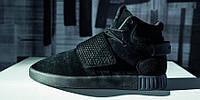 Мужские кроссовки Adidas Tubular Invader Black Strap (ТОП РЕПЛИКА ААА+)