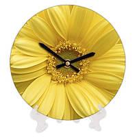Часы круглые настенные Желтая ромашка 18 см