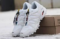 Мужские кроссовки Salomon Speedcross, натуральный нубук, ,белые / кроссовки мужские Саломон Спидкросс, удобные