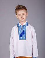 Вышиванка на мальчика с синим орнаментом