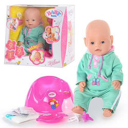 Пупс Беби Борн  8043901 (Baby Born) 43 см. 9 функций. 9 аксессуаров. С кнопкой на животике, фото 2