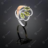 Серебряное кольцо с хризолитом. Артикул П-263