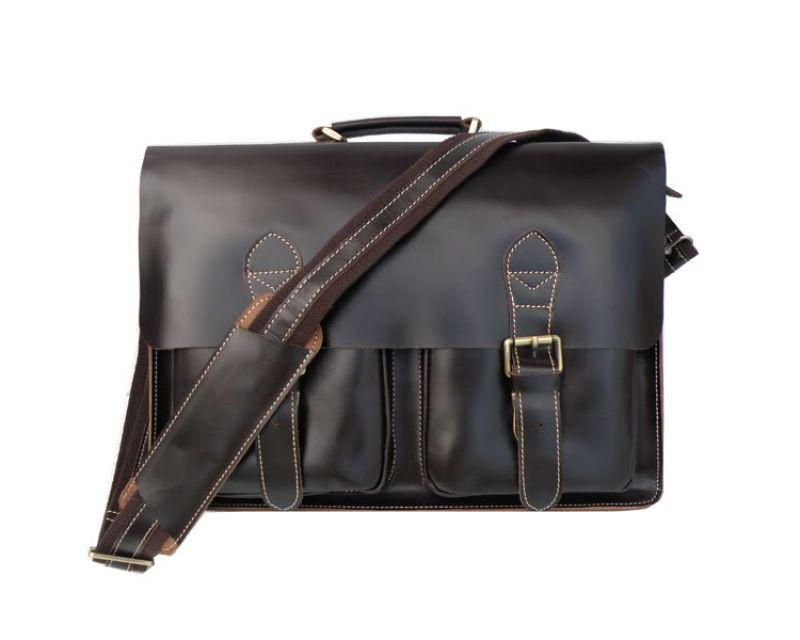 Кожаный портфель TIDING BAG 7105С темно коричневый глянец