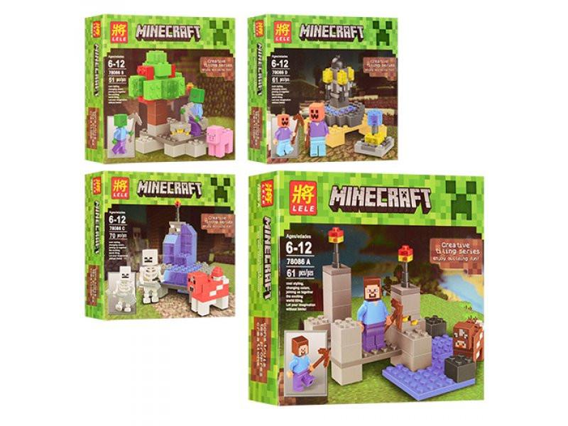 Конструктор Lele серия Minecraft / Майнкрафт 78086 A, B, C, D (аналог Lego Майнкрафт, Minecraft)