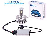 Лампа автомобильная T1/LED/H4 P43T/chips Taiwan/12v40w/2800Lm/5500K
