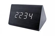 Эксклюзивные деревянные настольные часы Призма черная