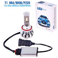 Лампа автомобильная   T1/LED/HB4 9006 P22D/chips Taiwan/12v30w/2800Lm/5500K