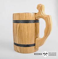 Деревянная пивная кружка, деревянный бокал светлый, дубовый пивной бокал, фото 1