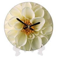 Круглые часы с принтом Белый цветок 18 см