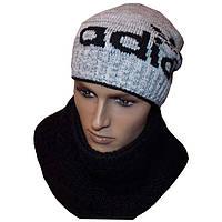 Вязаная мужская шапка - носок (утепленный вариант) и шарф - хомут