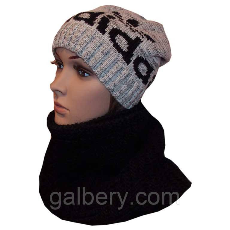 Зимова шапка і хомут спицями