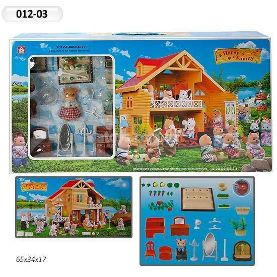 Загородный домик с флоксовыми животными Happy Family
