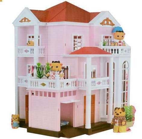 Великий Будиночок для флоксовых тварин Happy Family 1513 триповерховий зі світлом (аналог Sylvanian Families)