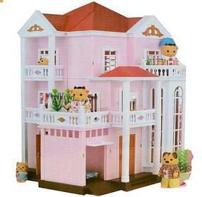 Домик Happy Family 1513 трехэтажный со светом (аналог Sylvanian Families)