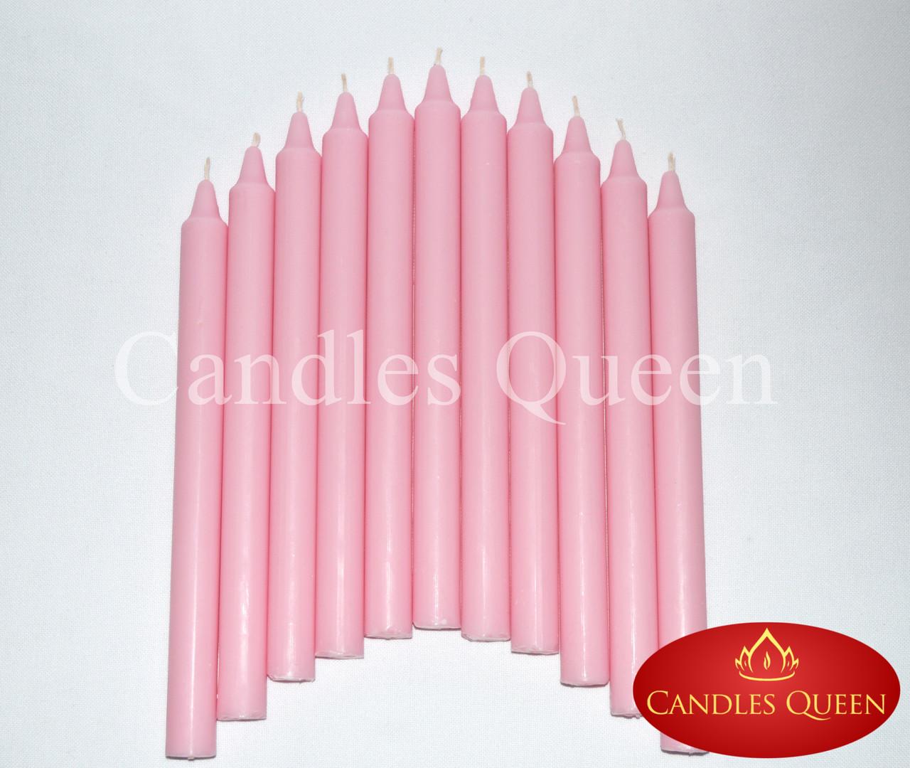 Свеча столовая розовая 240х20 мм 16 шт упаковка