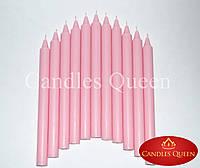 Свеча столовая розовая 240х20 мм 16 шт упаковка, фото 1
