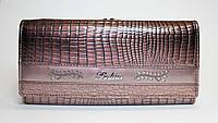 Женский лакированный кошелек из натуральной кожи BALISA коричневый