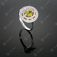 Серебряное кольцо с хризолитом и фианитами. Артикул П-272