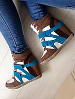 Стильные женские сникерсы, натур. замш,цвет коричневый+голубой