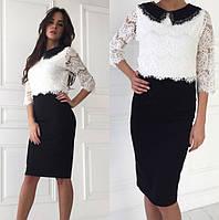 Классическое платье черно-белое с воротничком