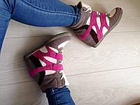 Стильные женские сникерсы, натур. замш,цвет серо-розовые