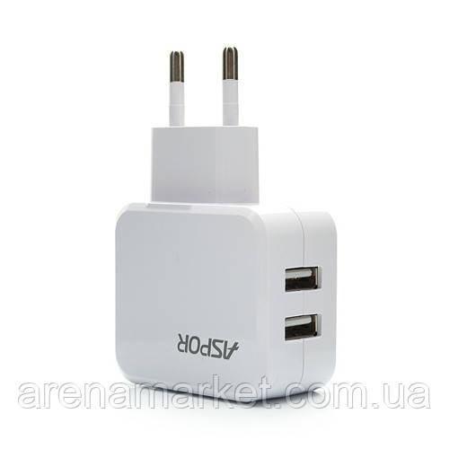 Сетевое зарядное устройство Aspor 2.1A на 2USB - A838