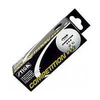 Мячи, настольный теннис, спортинвентарь Stiga Сompetition 3***, белые, 3 шт./уп.