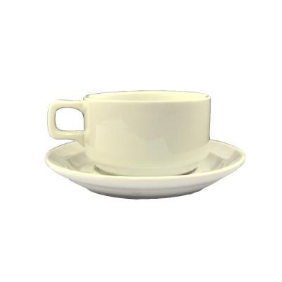 Чашка чайная с блюдцем белого цвета, 280мл.