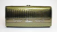 Женский лакированный кошелек из натуральной кожи BALISA зеленый