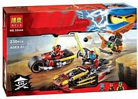 Конструктор Bela серия NINJA / Ниндзя 10444 Погоня на мотоциклах (аналог Lego Ninjago 70600)