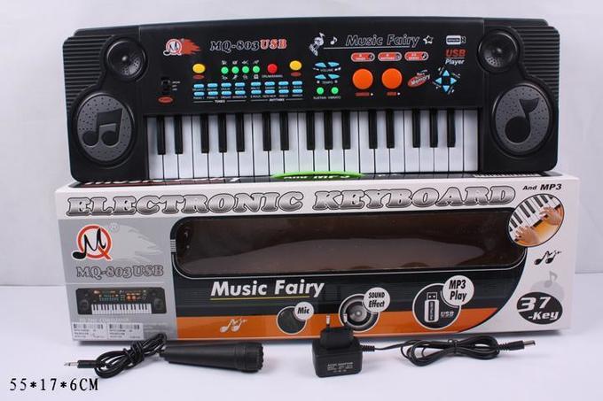 Дитячий синтезатор MQ-803 USB, MP3, Мікрофон, 37 клавіш,8 тонів, 8 ритмів, 22 демо-мелодії