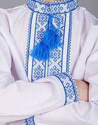 Подростковая вышиванка на мальчика синий орнамент