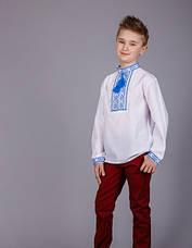Подростковая вышиванка на мальчика синий орнамент, фото 2