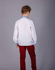 Подростковая вышиванка на мальчика синий орнамент, фото 3