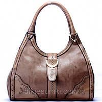 Женская сумка Gucci серо - бежевая