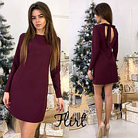 Красивое женское платье сзади на завязках,ткань креп дайвинг, цвет бордо