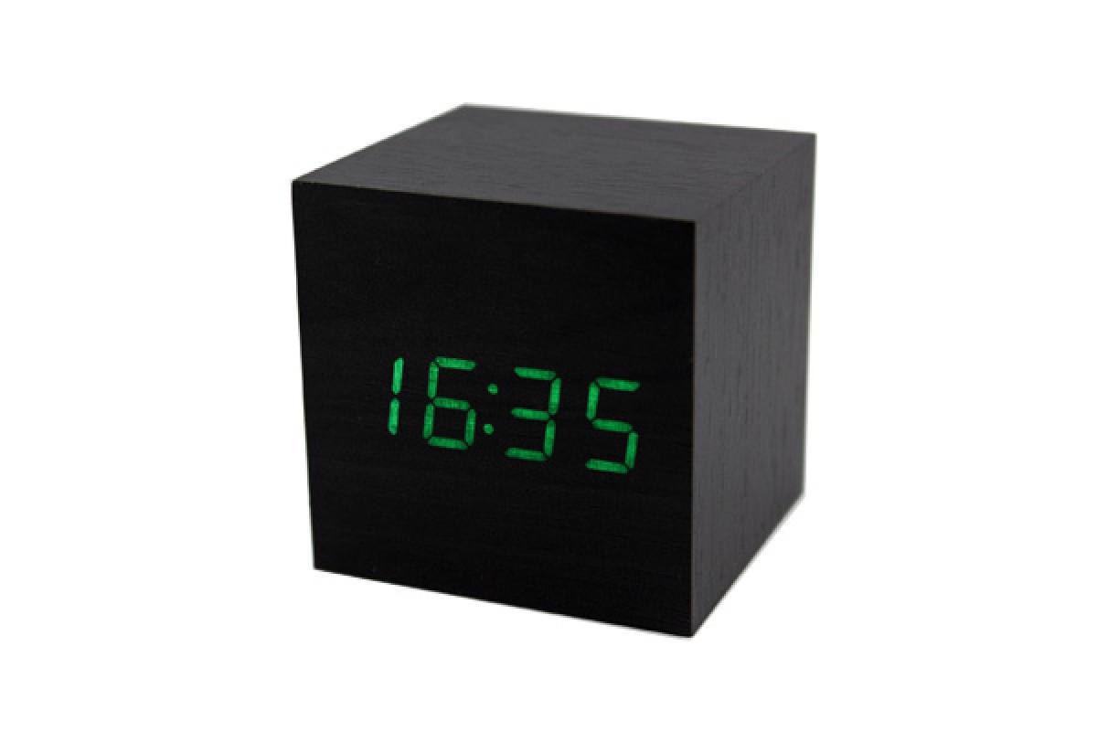Эксклюзивные деревянные настольные часы Куб черный