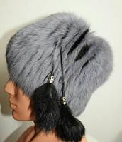 Комбинированная женская шапка-кубанка 7307