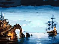 Картины по номерам на холсте 40×50 см. Лунная ночь (корабль) Художник Роман Романов, фото 1