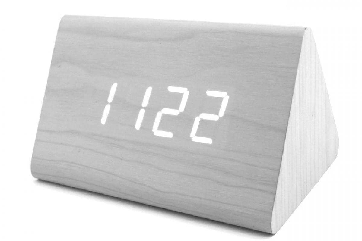 Эксклюзивные деревянные настольные часы Призма белая