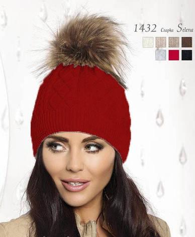 Красивая теплая вязаная женская шапка, украшенная мехом., фото 2