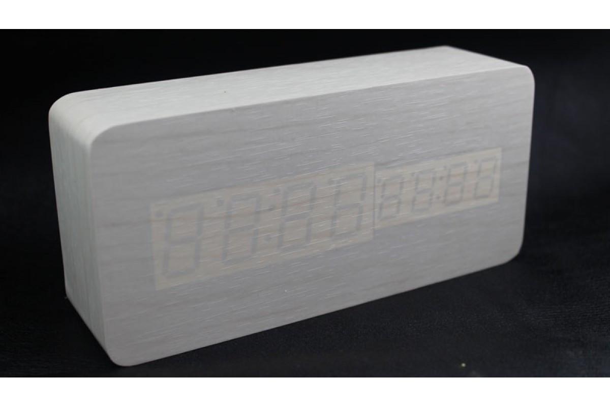 Эксклюзивные деревянные настольные часы Брусок белый