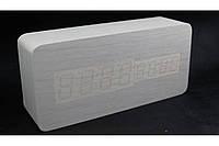 Эксклюзивные деревянные настольные часы Брусок белый, фото 1