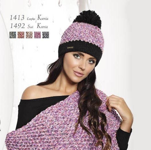 Модна, оригінальна в'язана жіноча шапка, Польща.
