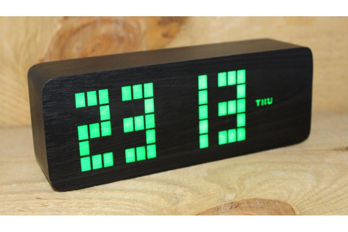 Эксклюзивные деревянные настольные часы Брусок большой